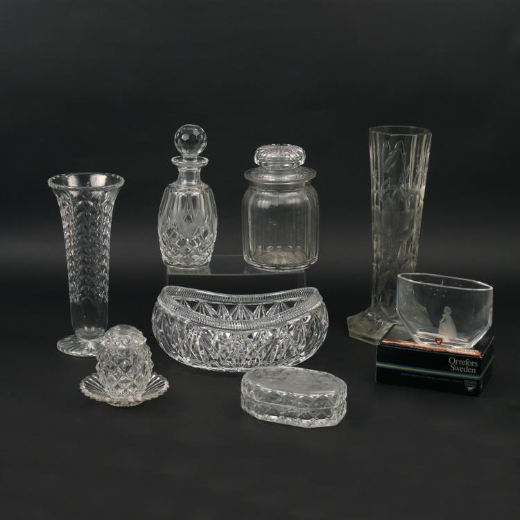 (9pc) CUT GLASS