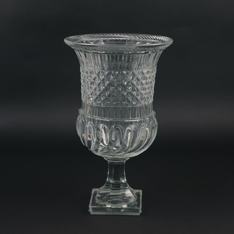 MONUMENTAL CUT GLASS CAMPANA-FORM VASE