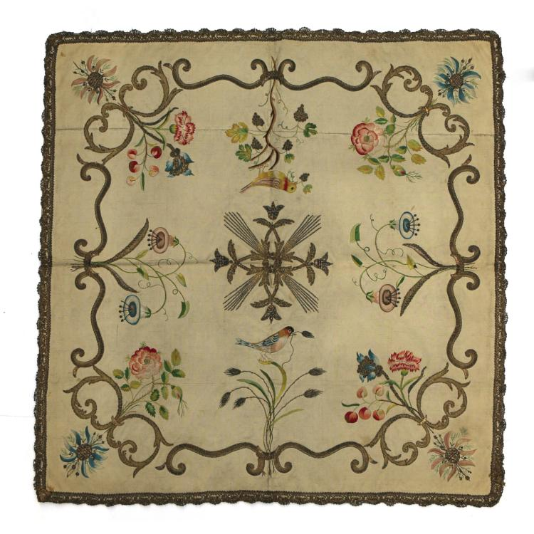 ANTIQUE CREWEL-WORK SQUARE PANEL