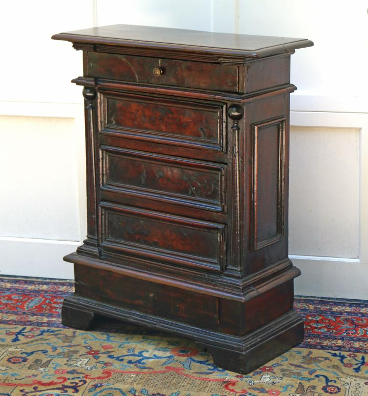 BAROQUE WALNUT VENEERED SMALL CHEST