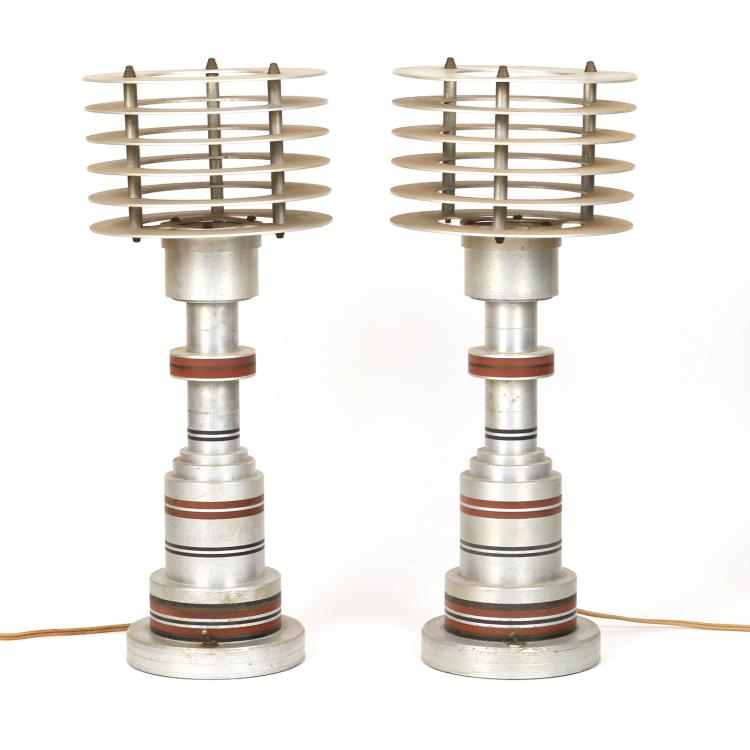 PAIR PATTYN PRODUCTS ALUMINUM SPACE AGE LAMPS
