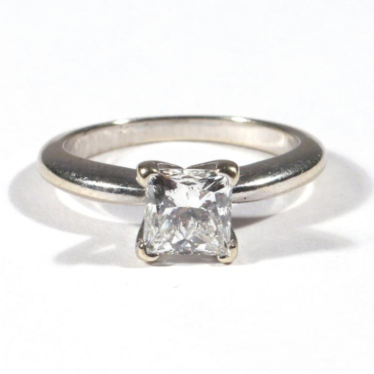 .91ct PRINCESS CUT DIAMOND ENGAGEMENT RING