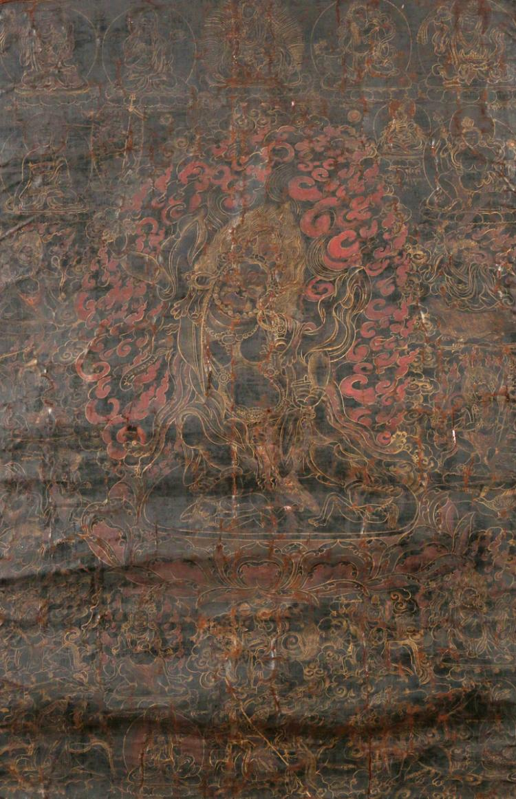 EARLY SINO-TIBETAN BLACK-GROUND THANGKA