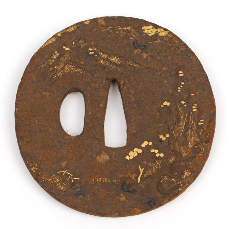 JAPANESE IRON & INLAID GOLD TSUBA