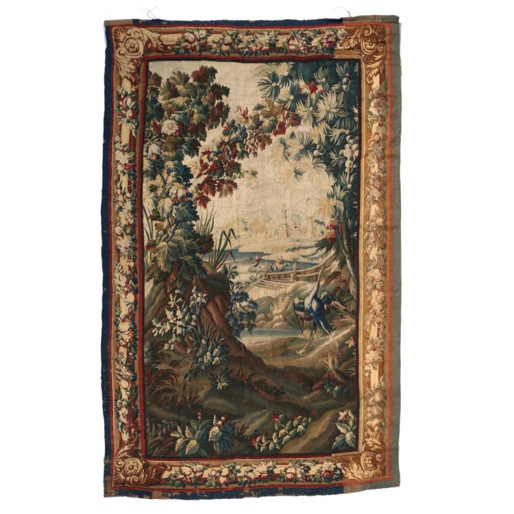 FLEMISH WOOL VERDUE TAPESTRY