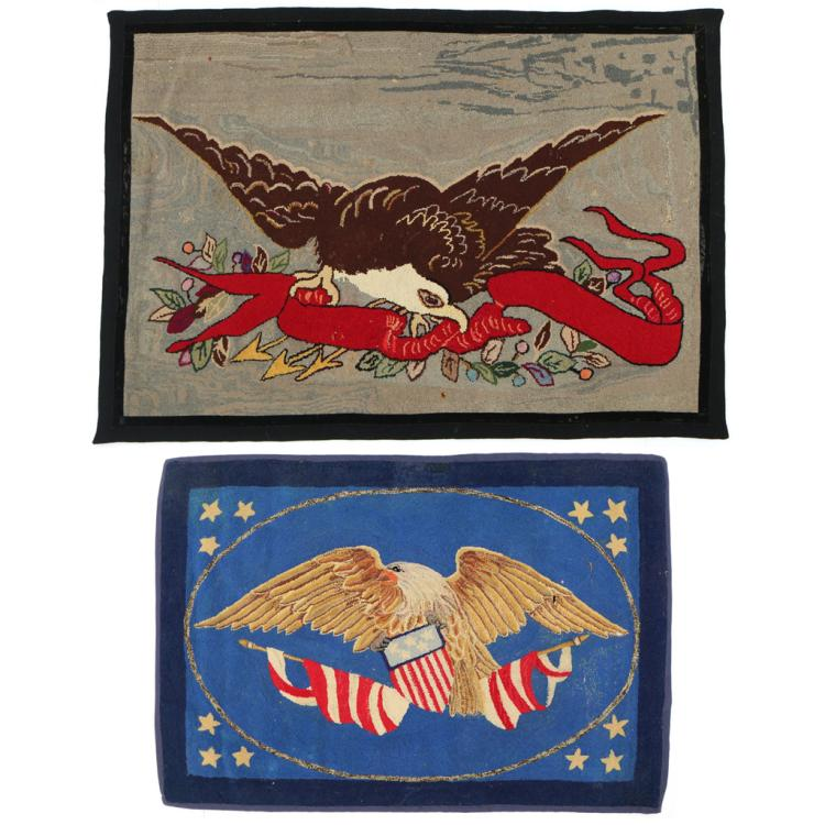 (2pc) AMERICAN EAGLE HOOKED RUGS