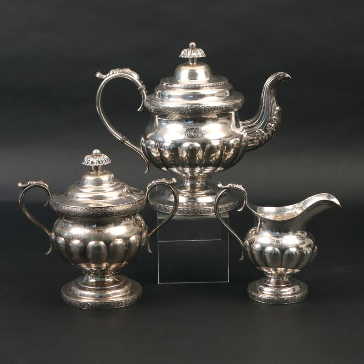 (3pc) COIN SILVER TEA SERVICE