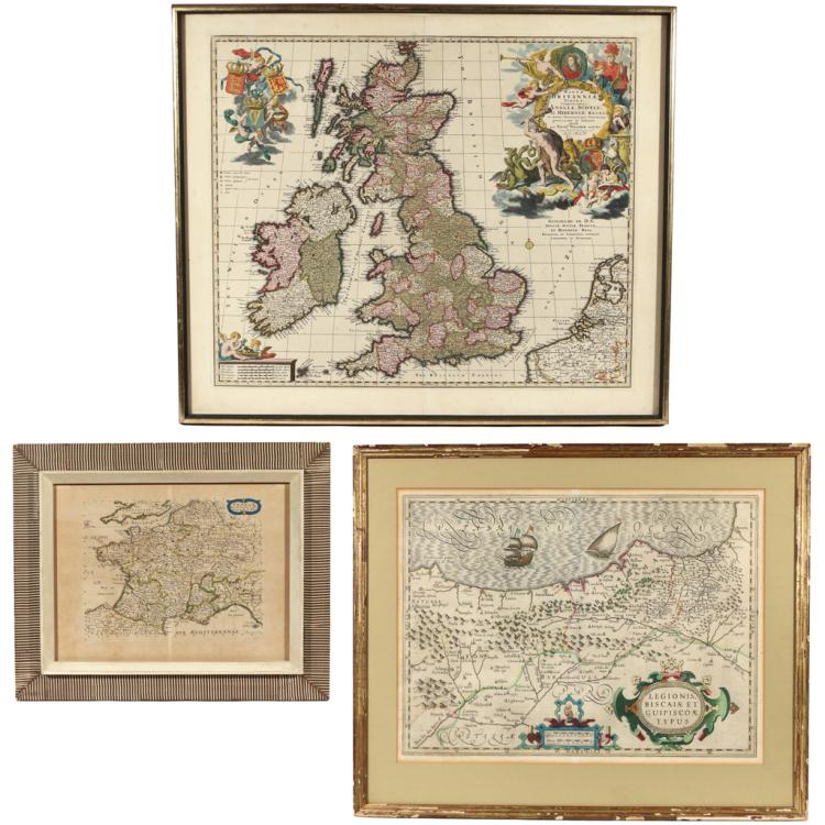 (3pc) HAND-COLORED ENGRAVED MAPS OF EUROPE