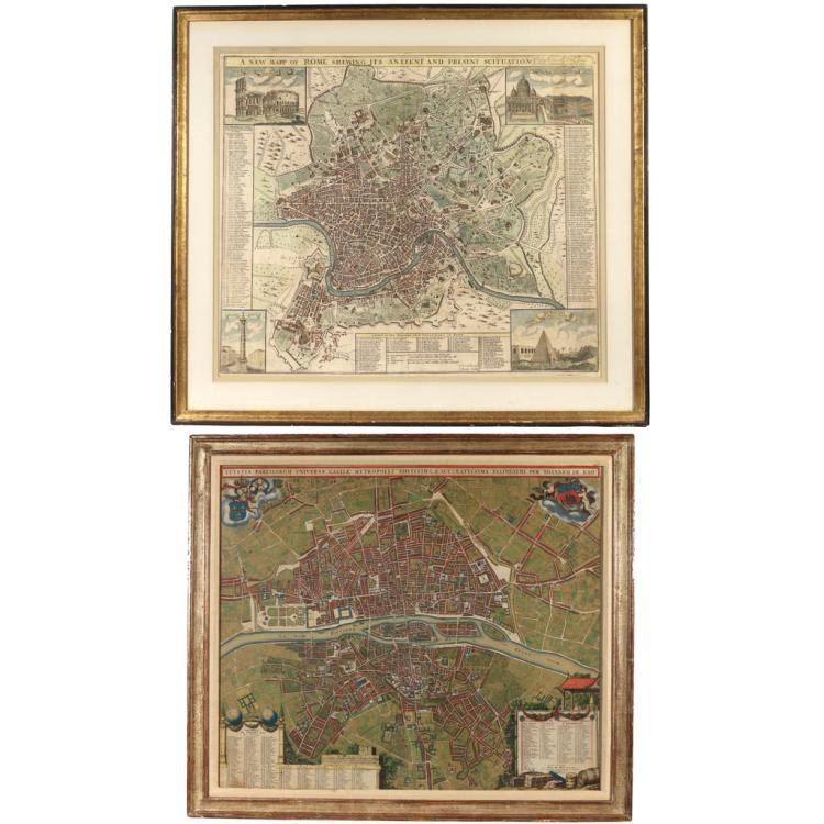 (2pc) MAPS OF ROME & PARIS