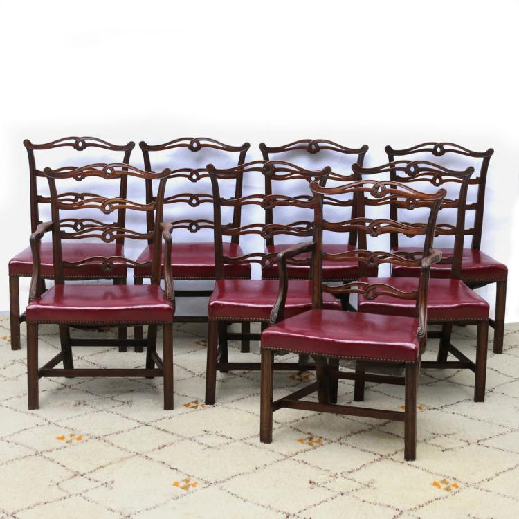 (8pc) CHIPPENDALE MAHOGANY DINING CHAIRS