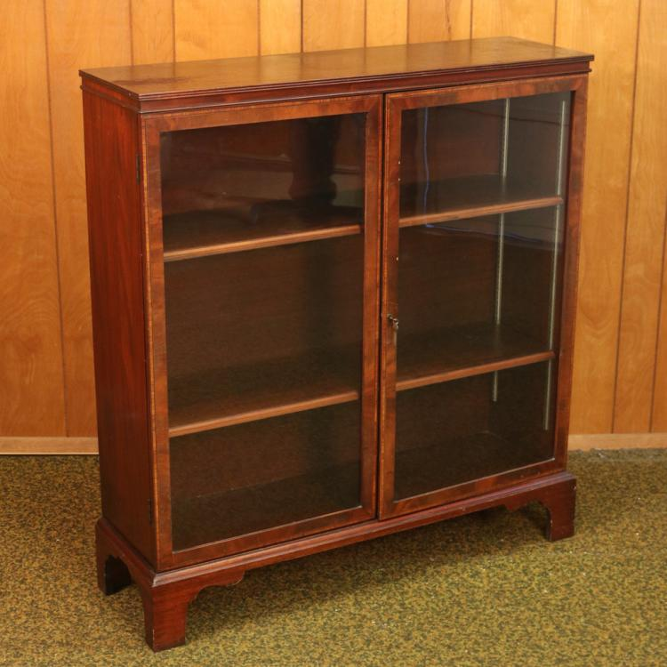 INLAID MAHOGANY BOOKCASE OF SMALL SIZE