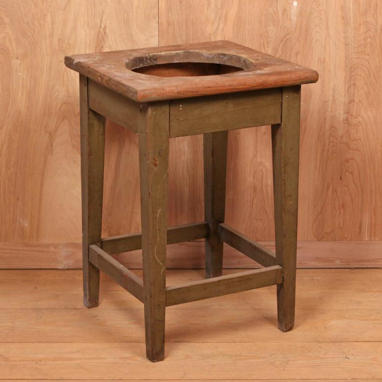 AMERICAN GREEN-PAINTED PINE WASH STAND