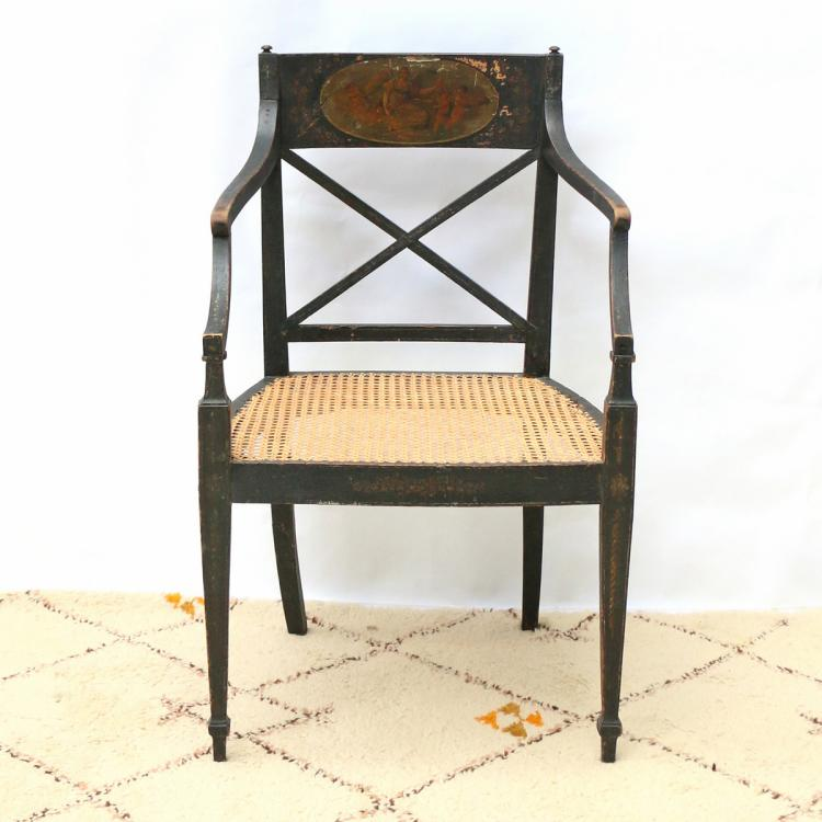 REGENCY PAINTED OPEN ARMCHAIR