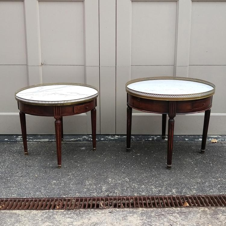 (2pc) TWO LOUIS XVI-STYLE BOUILLOTTE TABLES