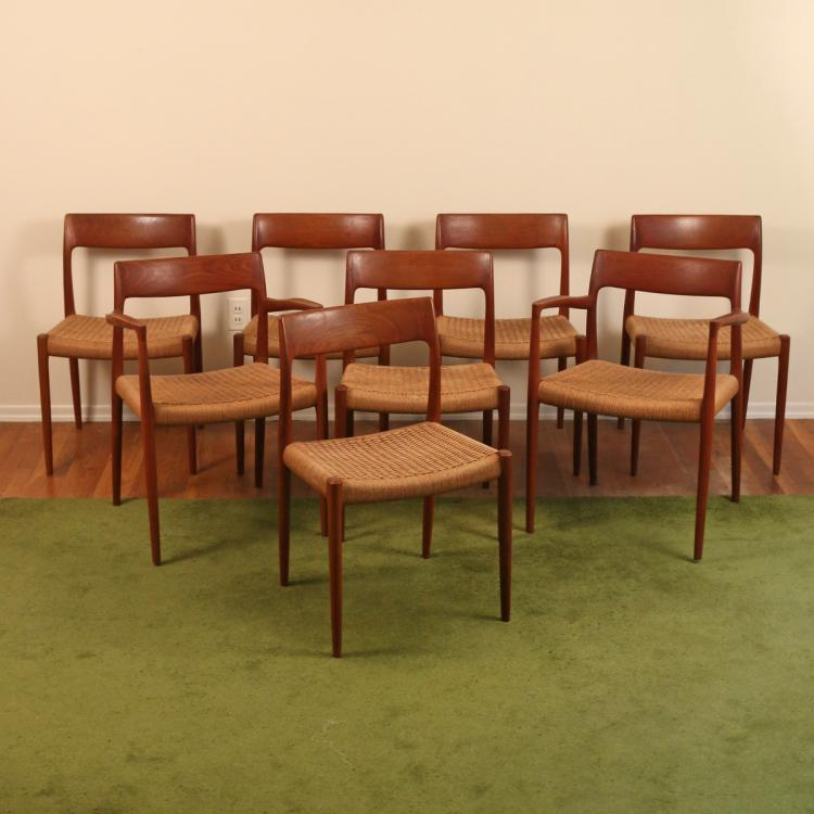 (8pc) SET OF J. L. MOLLER DINING CHAIRS