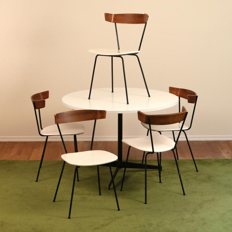 (6pc) MID CENTURY DINETTE TABLE & CHAIRS