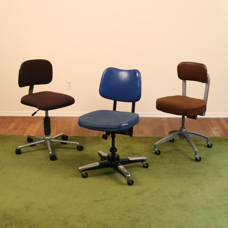(3pc) MID CENTURY KEVI-TYPE SWIVEL CHAIRS