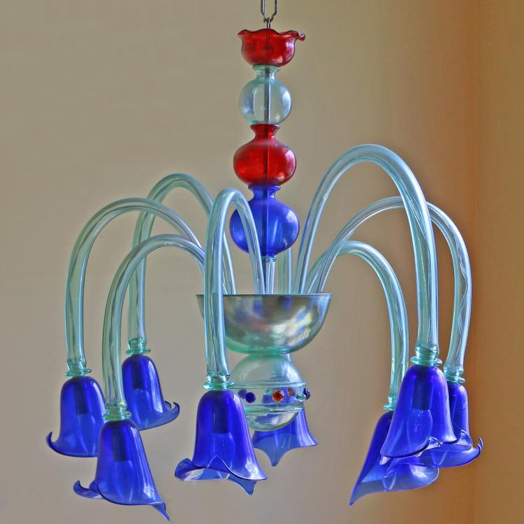 MURANO COLORED GLASS CHANDELIER