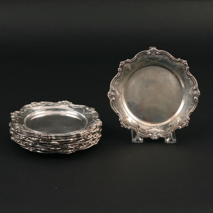 (13pc) GORHAM STERLING SILVER BUTTER PLATES