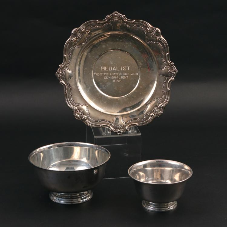 (3pc) STERLING SILVER BOWLS & PLATE