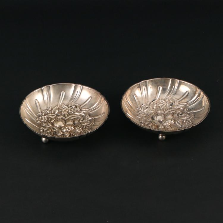 PAIR STERLING FOOTED BOWLS