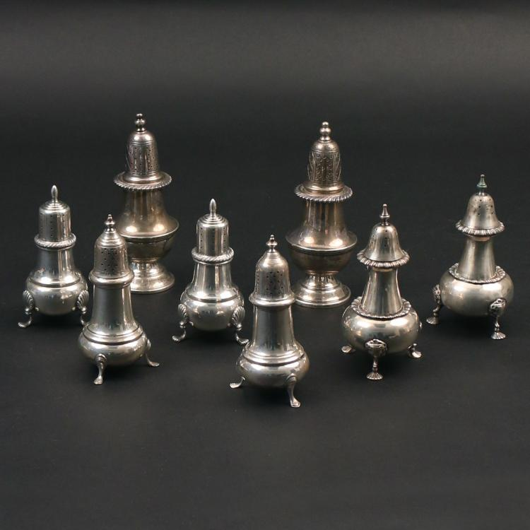 (8pc) FOUR PAIRS STERLING SALT & PEPPER