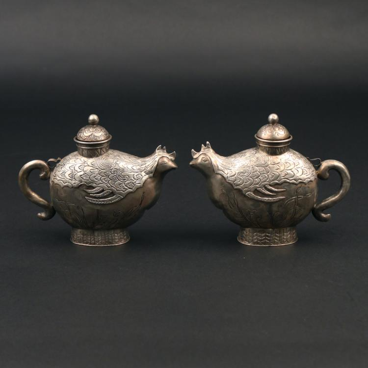PAIR CHINESE EXPORT SILVER TEA CADDIES