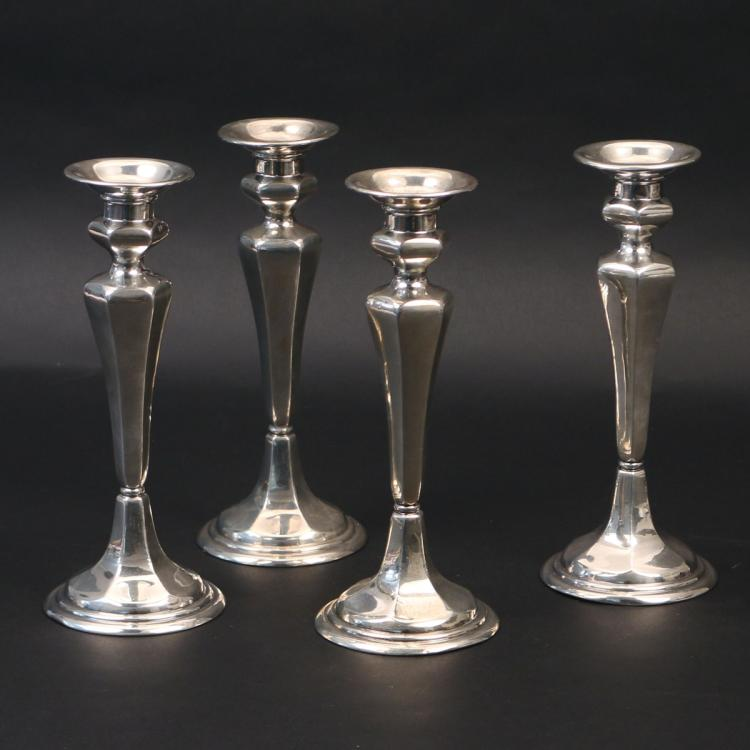 (4pc) GORHAM WEIGHTED STERLING CANDLESTICKS