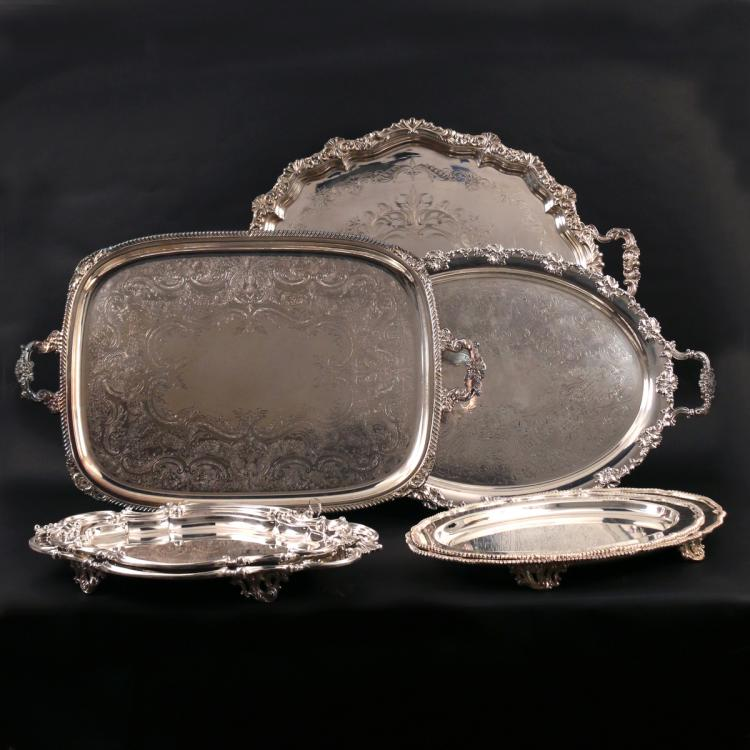 (7pc) MISC. SILVER-PLATED SERVING TRAYS