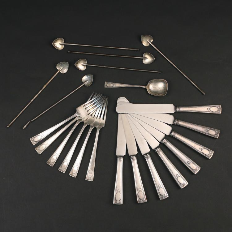 (21pc) ART DECO STERLING SILVER FLATWARE