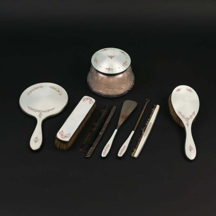 (8pc) ENAMELED STERLING SILVER DRESSING SET