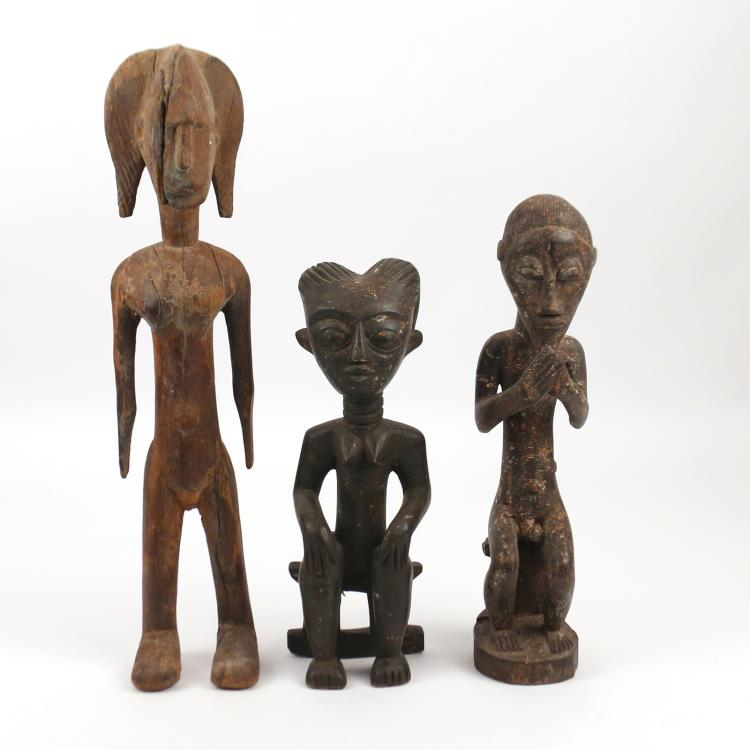 (3pc) AFRICAN ANTIQUE WOODEN SCULPTURE
