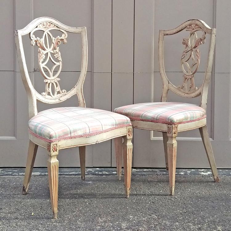 PAIR VENETIAN POLYCHROMED SHIELD BACK CHAIRS