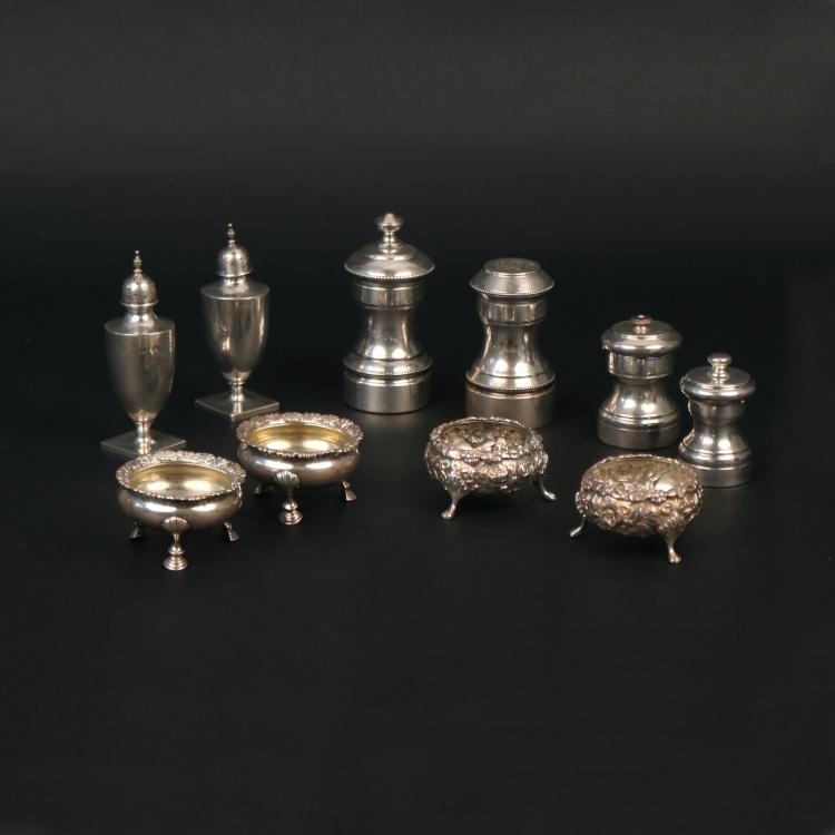 (10pc) STERLING SILVER SALT CELLARS & SHAKERS