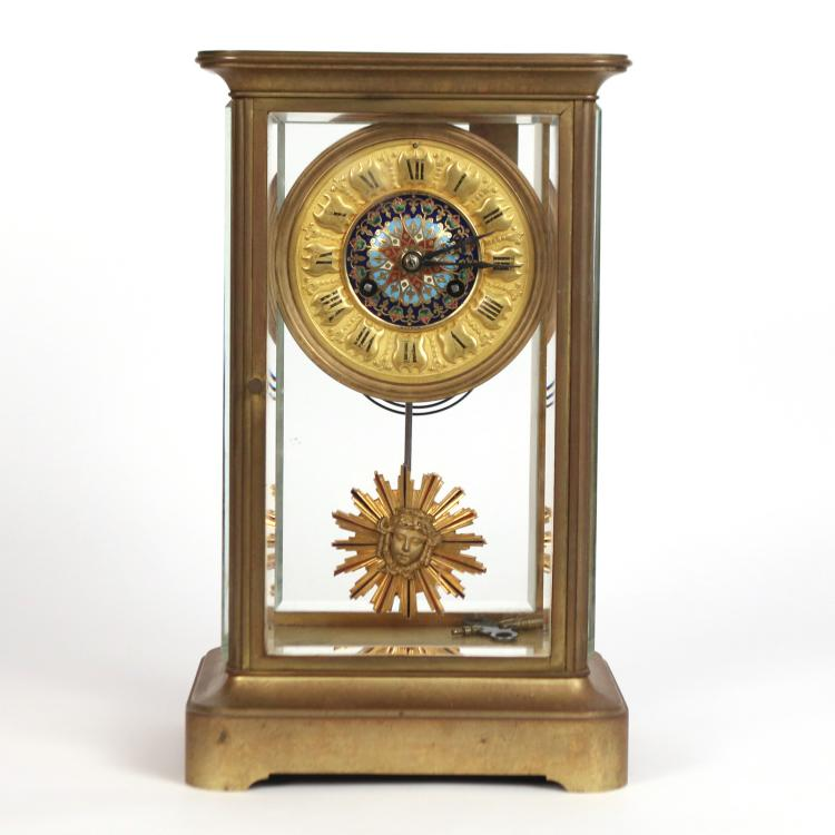 GILT BRONZE & ENAMEL GLASS CASE CLOCK