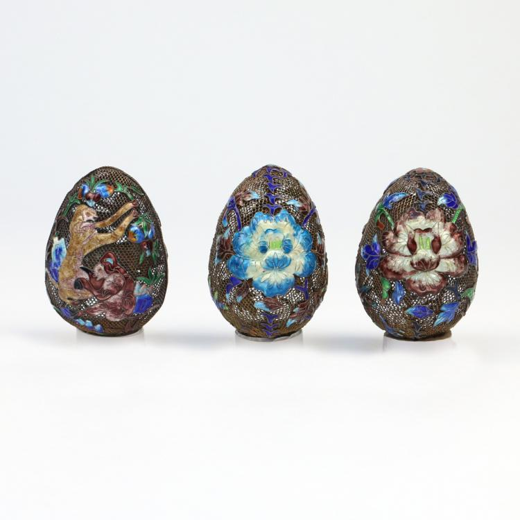 (3pc) STERLING AND ENAMEL DECORATED CLOISONNE EGGS