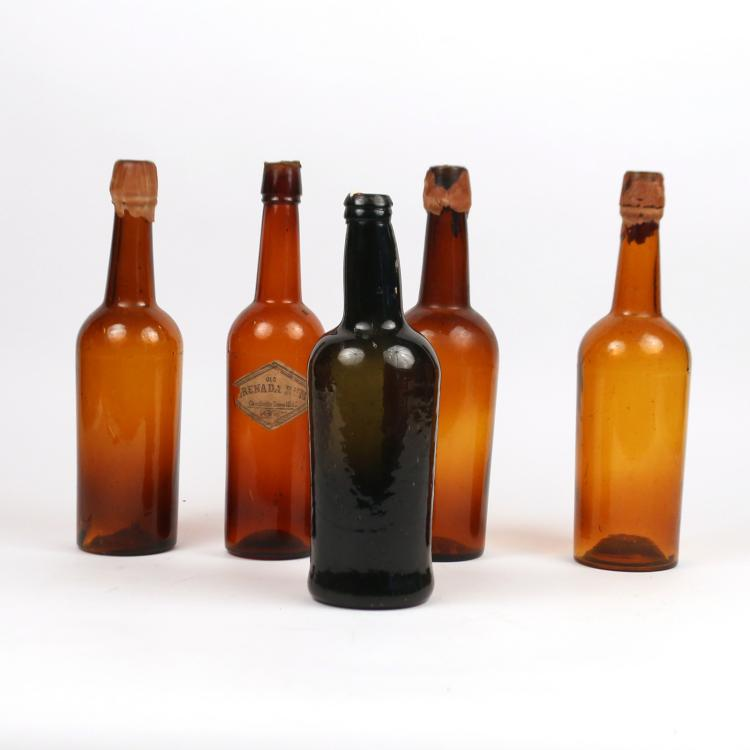 (5pc) ANTIQUE GLASS BOTTLES