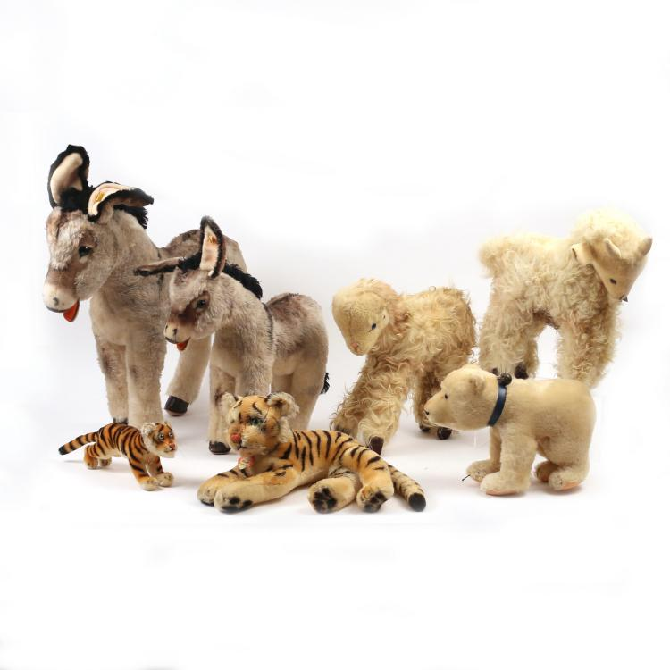 (7pc) STEIFF LARGE STUFFED ANIMALS