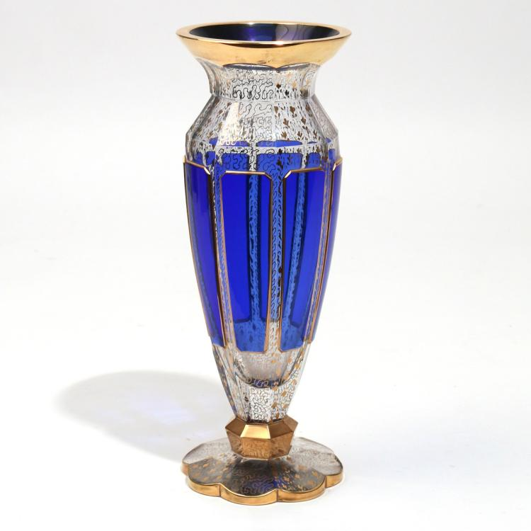 MOSER COBALT BLUE & GILT GLASS VASE