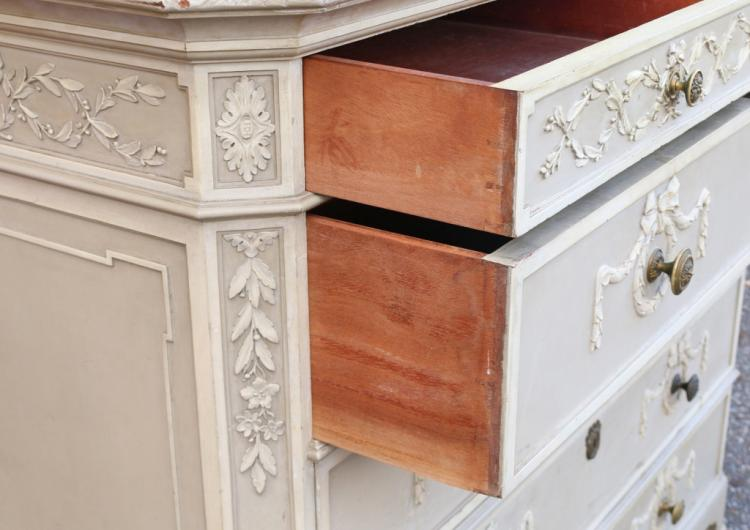 Pc french carved painted bedroom suite