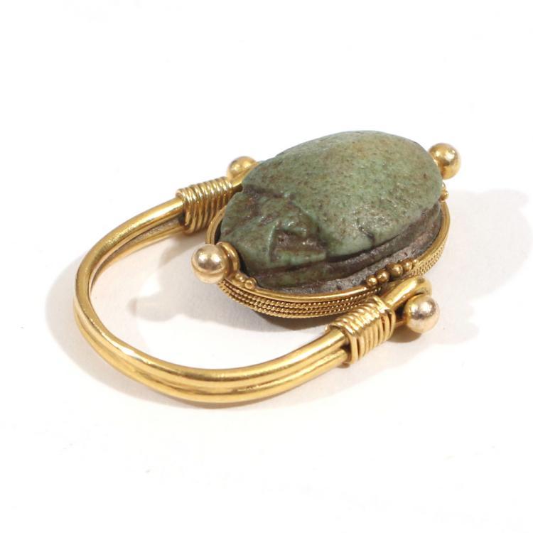 faience scarab swivel ring