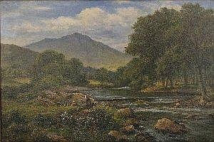 Henry Maidment (late 19th/early 20th Century), Near Swallow Falls on the River Conwy, North Wales, oil on canvas, signed, inscribed to labels