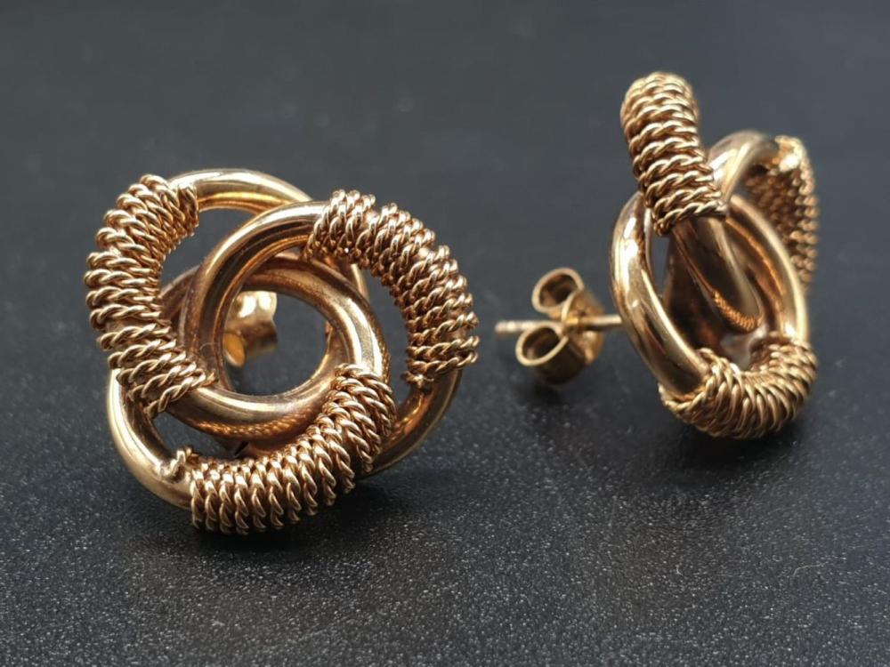 9K Yellow Gold Triple knot earrings. Weighs 5g.