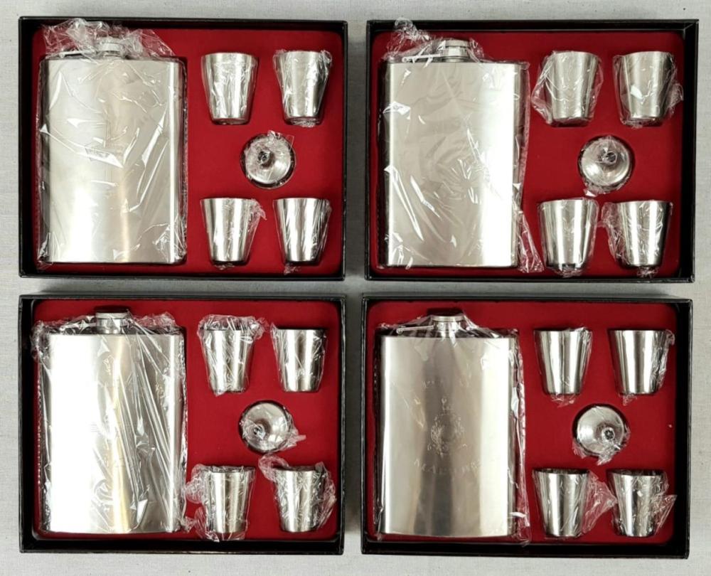 Set of 4 Hip Flask Sets. 1 x SAS, 1 X RM Commando, 1 x Royal Marines, 1 x Parachute Regiment.