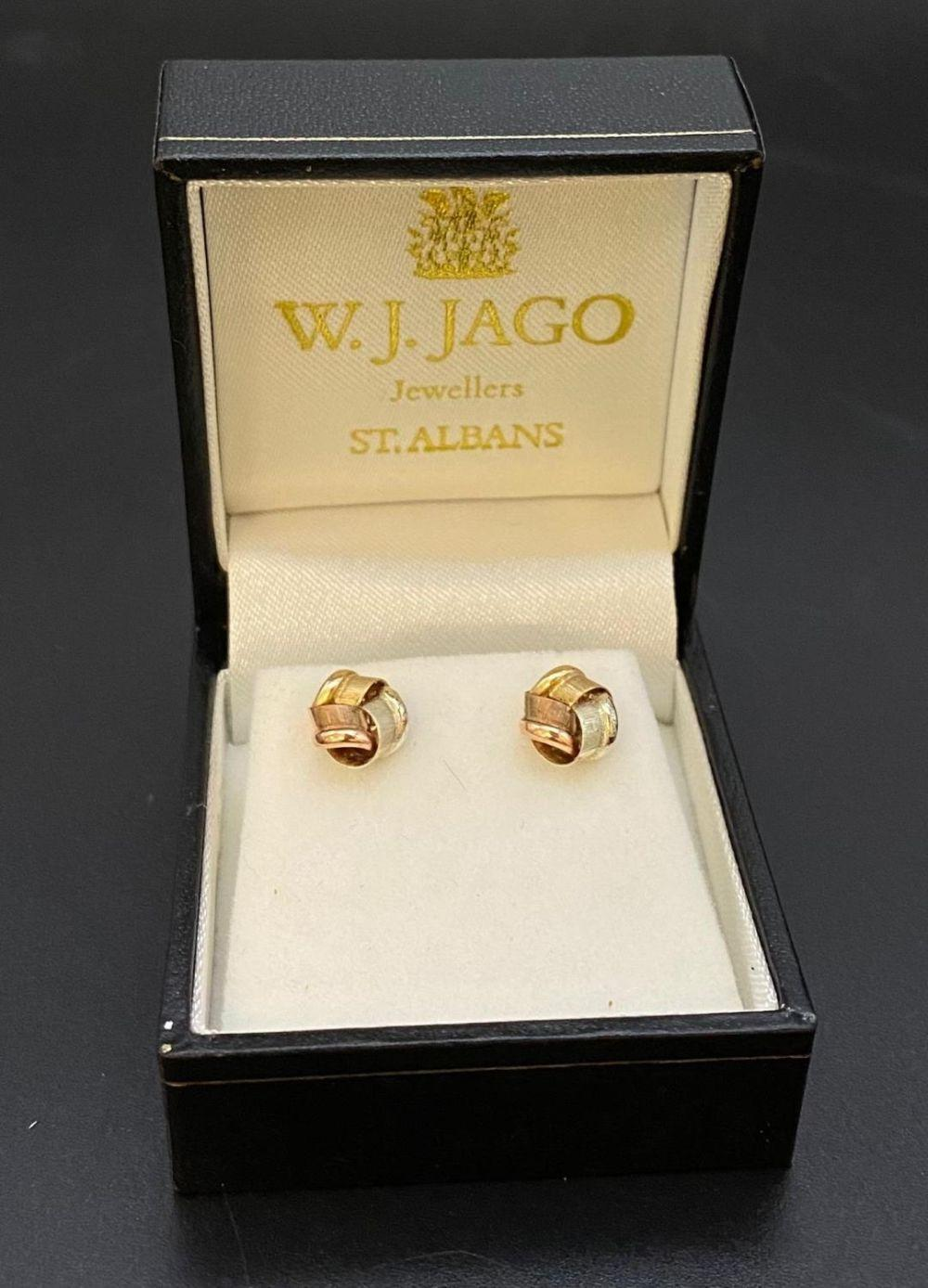 A PAIR OF 3 COLOUR GOLD EARRINGS IN BOX.