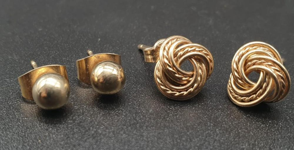 Two Pairs of 9K Yellow Gold Stud Earrings. Rope-twist and Ball. 1.71g total weight.