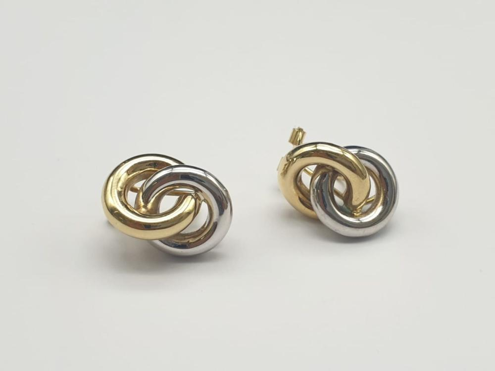 14K Yellow and White Gold Stud knot Earrings. 4.5g
