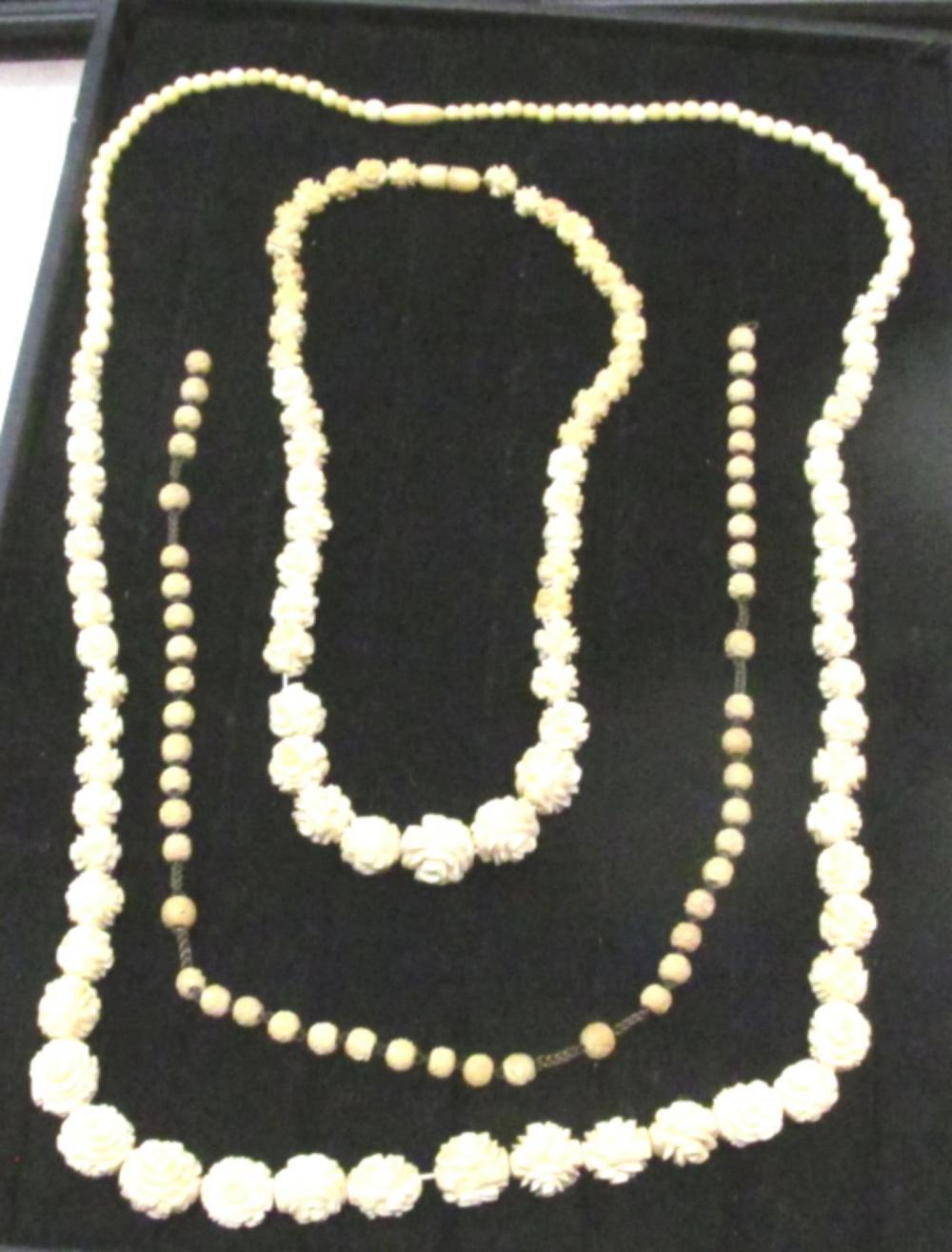 3 Vintage Ivory Like Rose Necklaces
