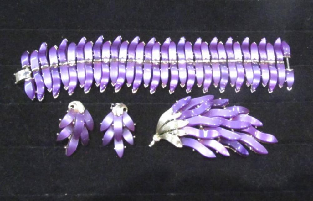 Vintage Lisner Purple Bracelet, Brooch & Earrings