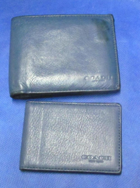 Mans Blue Leather Coach Wallet & Card Holder